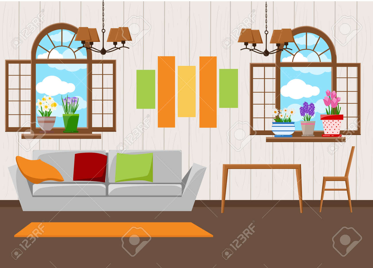 Beautiful design elements illustration of living room furniture in mid century modern style stock vector