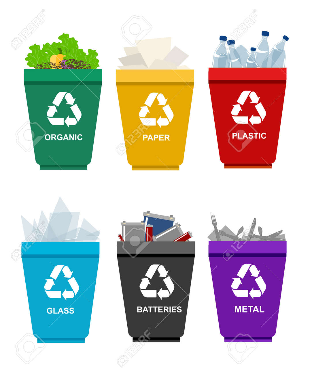 Recycle garbage bins. Separation concept. Set waste plastic organic battery glass metal paper. Trash categories - 58130801