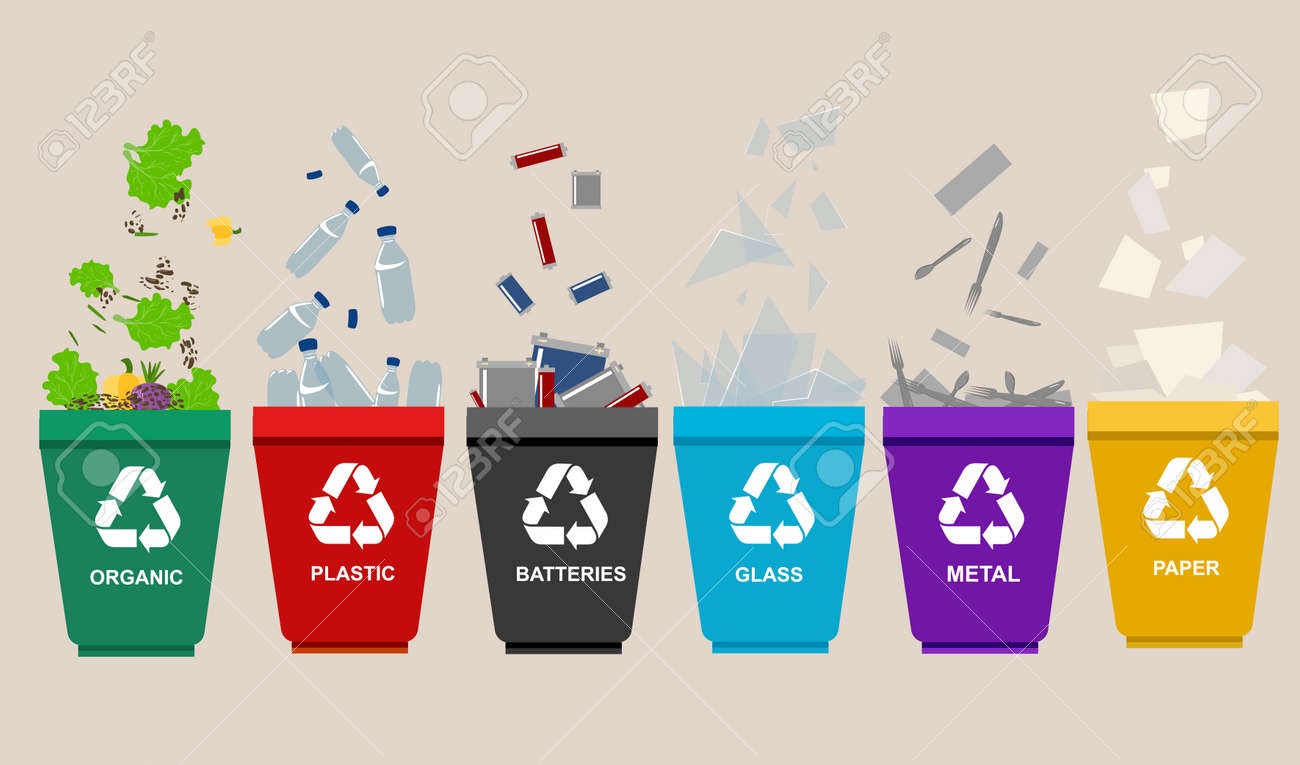 Recycle garbage bins. Separation concept. Set waste plastic organic battery glass metal paper. Trash categories - 58130796