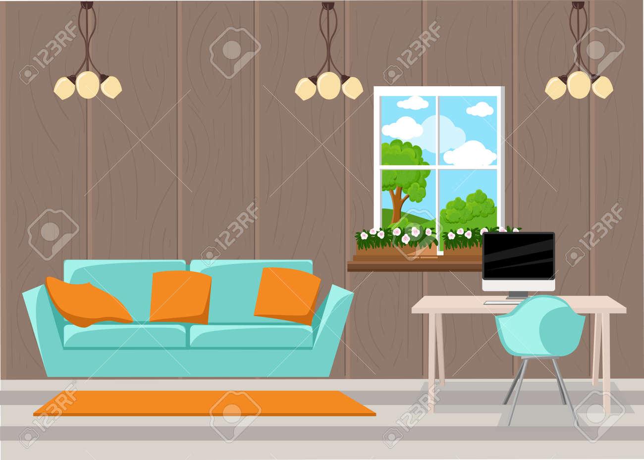 Wunderbar Schöne Design Elemente, Vektor Illustration Von Wohnzimmermöbeln In Der  Mitte Des Jahrhunderts Modernen