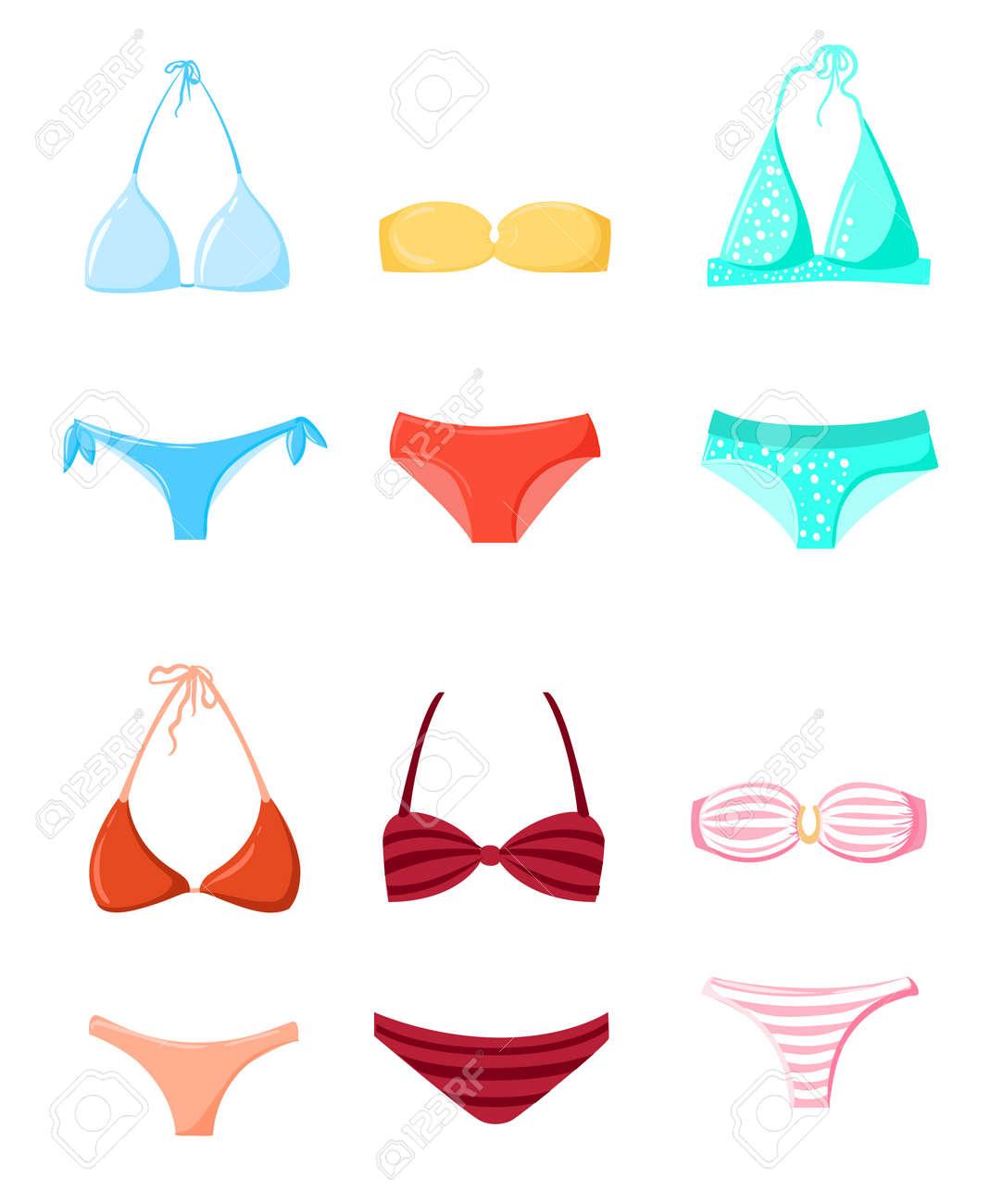Bikini Diseño VeranoElementos La De El Baño Tiempo Del Playa Vacaciones Establecer Traje Trajes Silueta Vector 5L4ARj