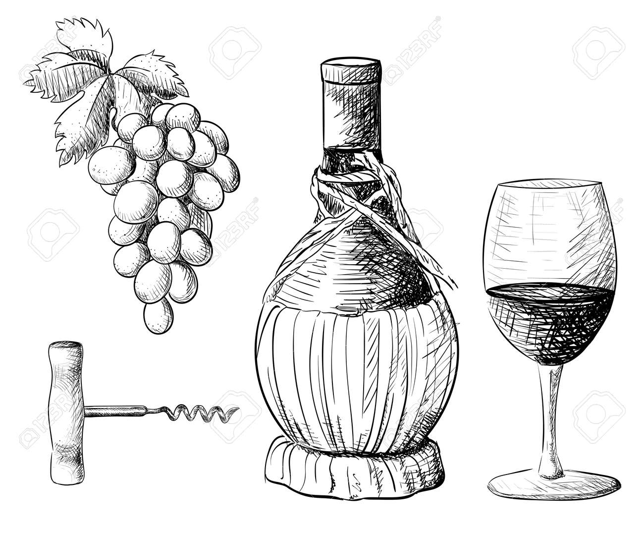 Wine Collection Vector Illustration With Wine Barrel Wine Glass