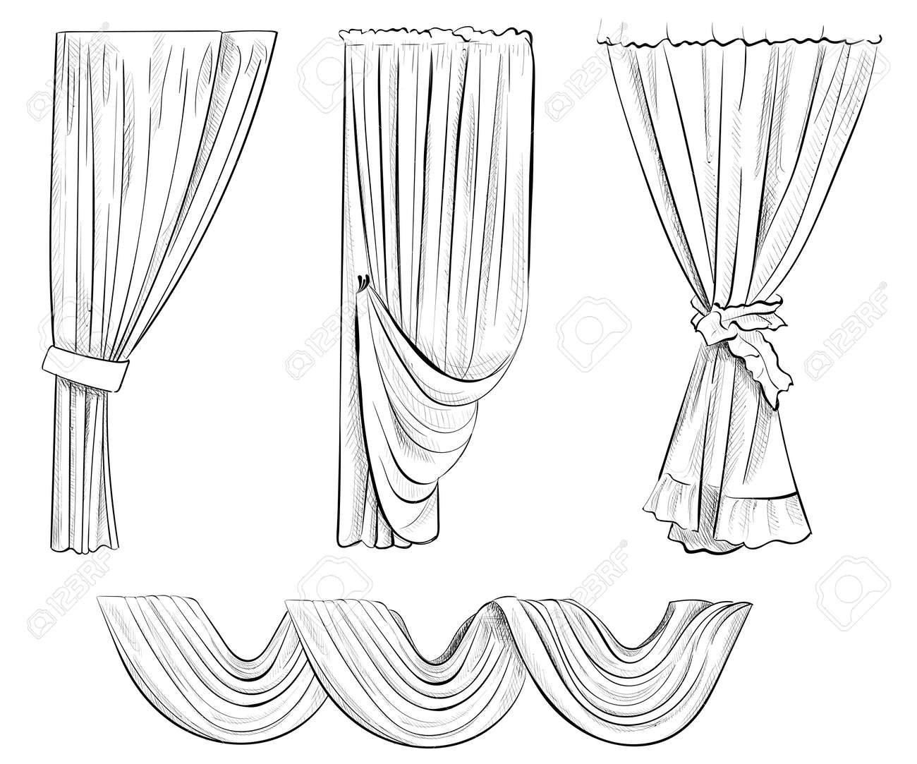 Sketch Design Curtains Windows Background For Use In Design Royalty Free Cliparts Vectors And Stock Illustration Image 58129848