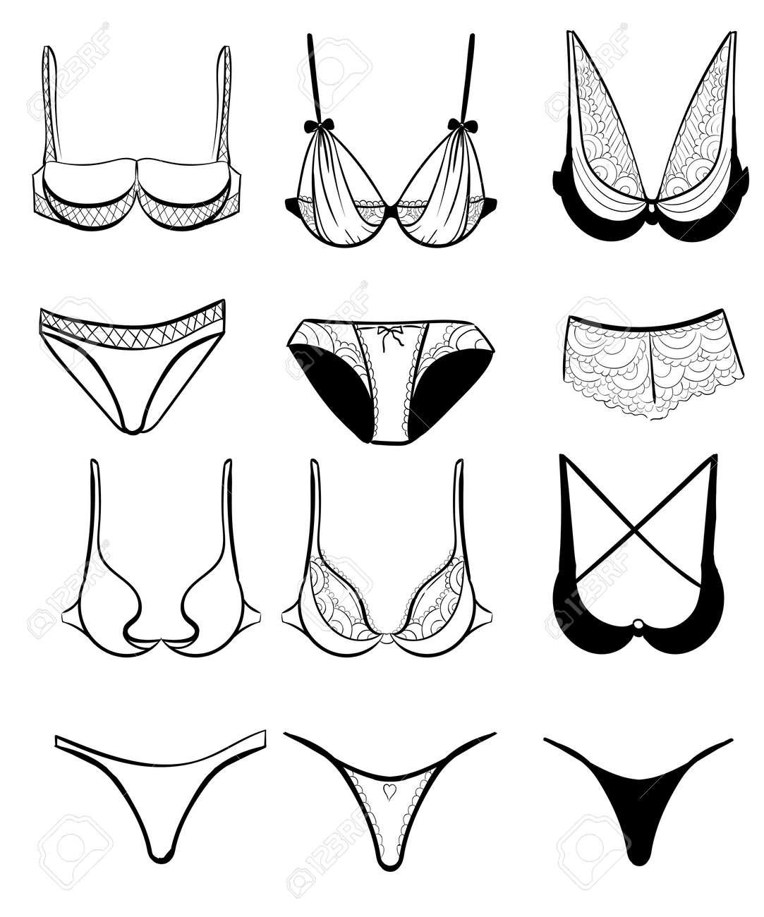 9d0a95f1257c Foto de archivo - Ropa interior femenina de moda. set ropa interior de  encaje sexy. Vector colección de lencería.