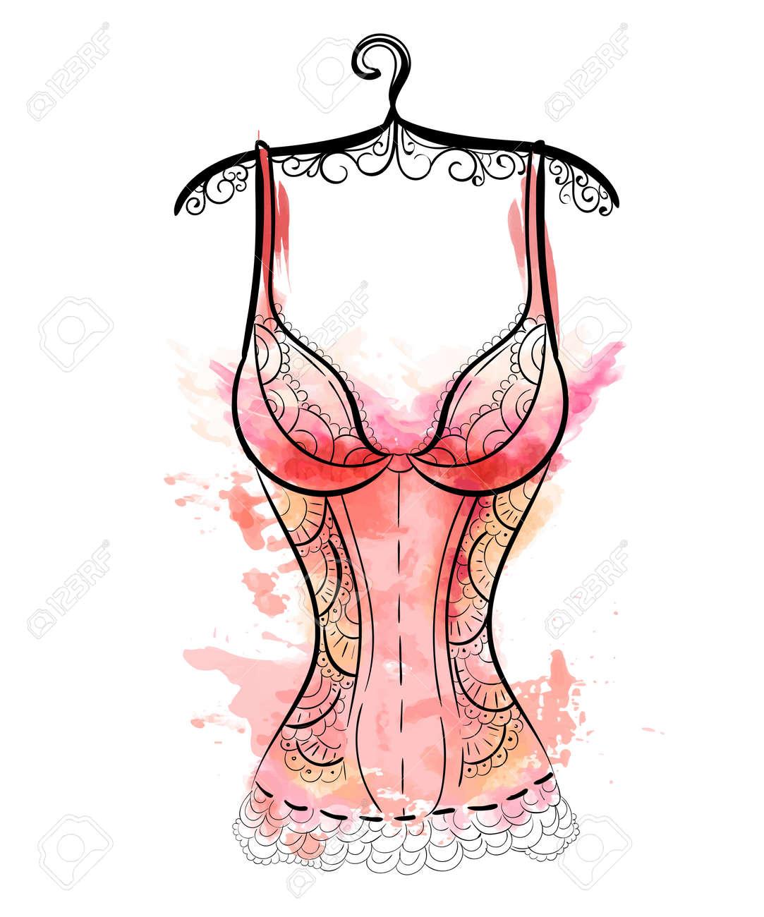 Female fashion lingerie. Sexy lacy lingerie set. Vector lingerie collection. - 58129854