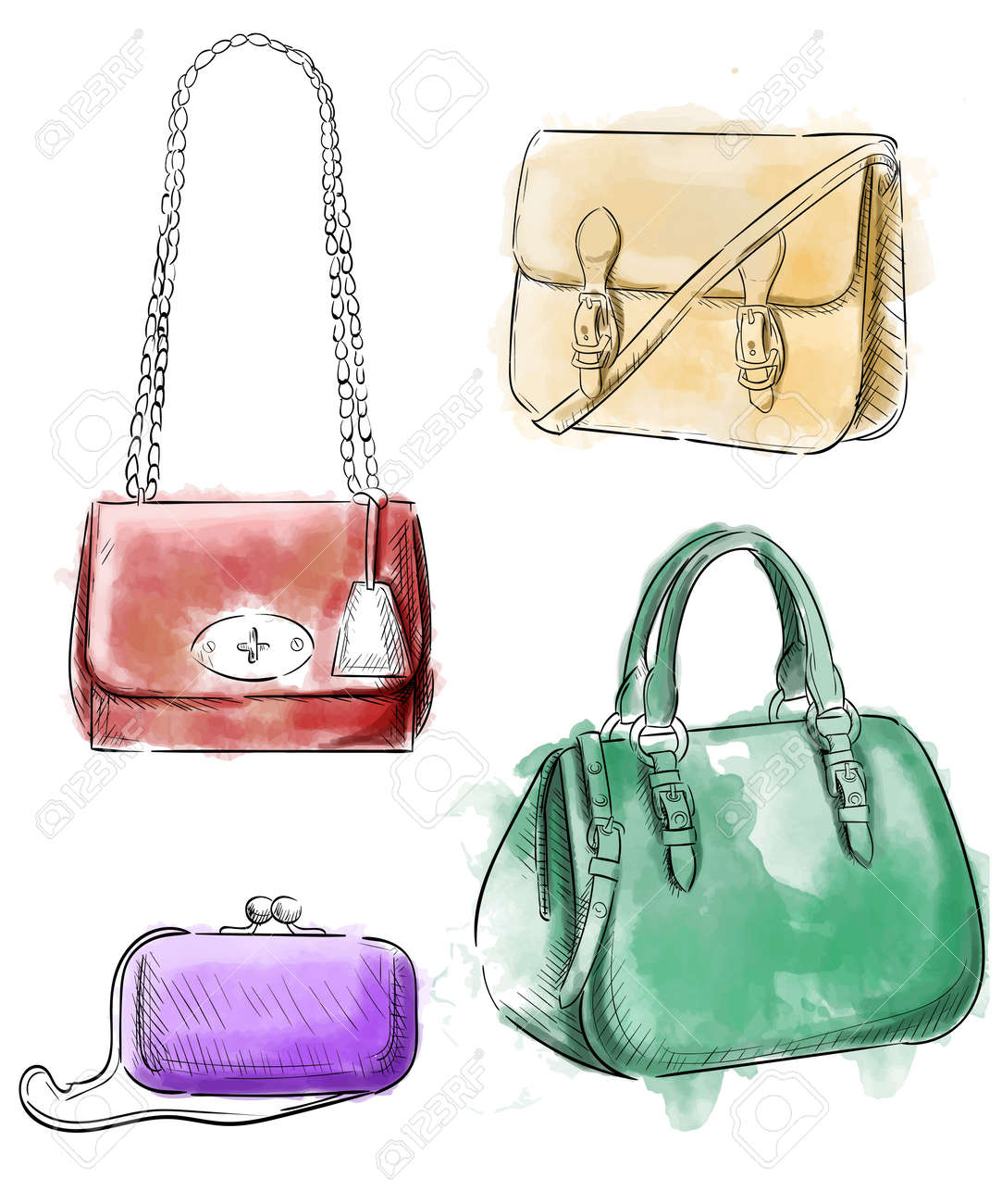 b9b61e999558 Sketches of bags. Vector fashion illustration. Women s Bags Hand Drawn  Purses set of women s