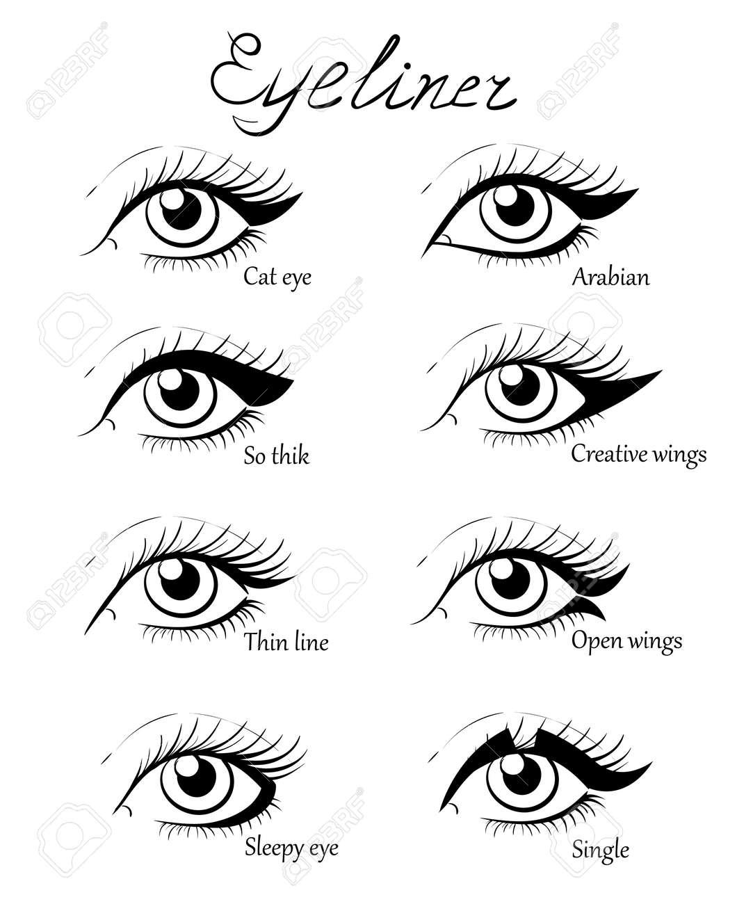 Types Of Eye Makeup. Cat Eyeliner Tutorial. Hand Drawn ...