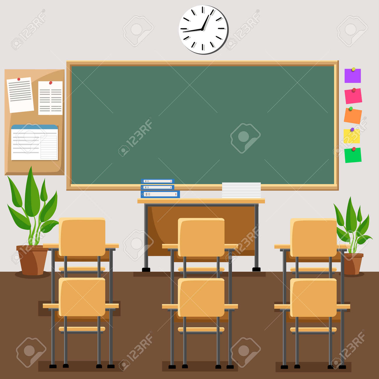 classroom table vector. flat illustration of classroom at the school with chalkboard and desks. stock vector table o