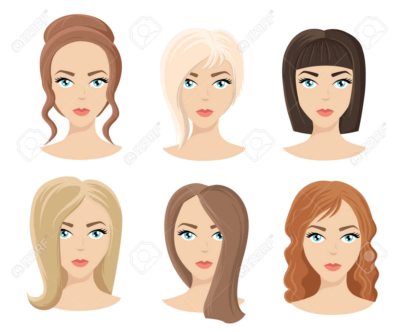 Different Colors Shades And Types Of Hair Set Of Different Girl S