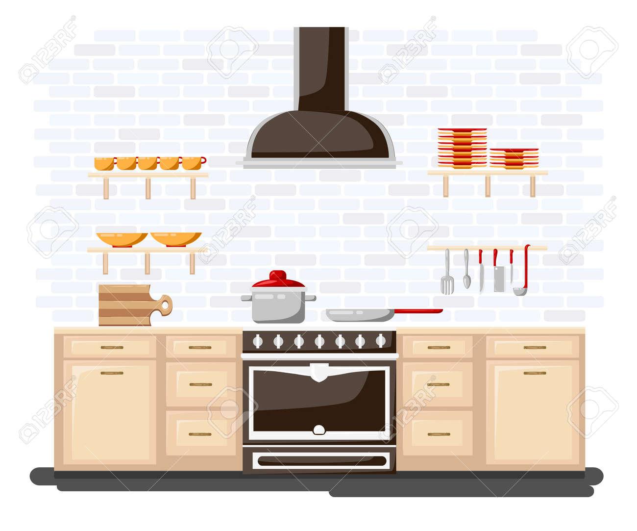 Cocina con muebles de estilo ilustración vectorial plana. estilo de dibujos  animados para la web, analítica, cocina de diseño gráfico interior en ...
