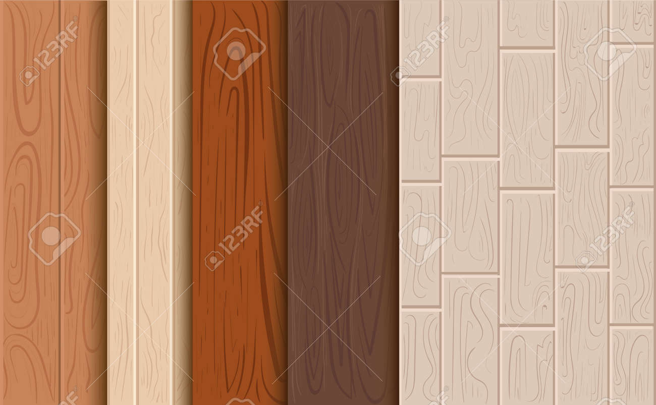 Wood Texture Background Set Of A Tree Cartoon