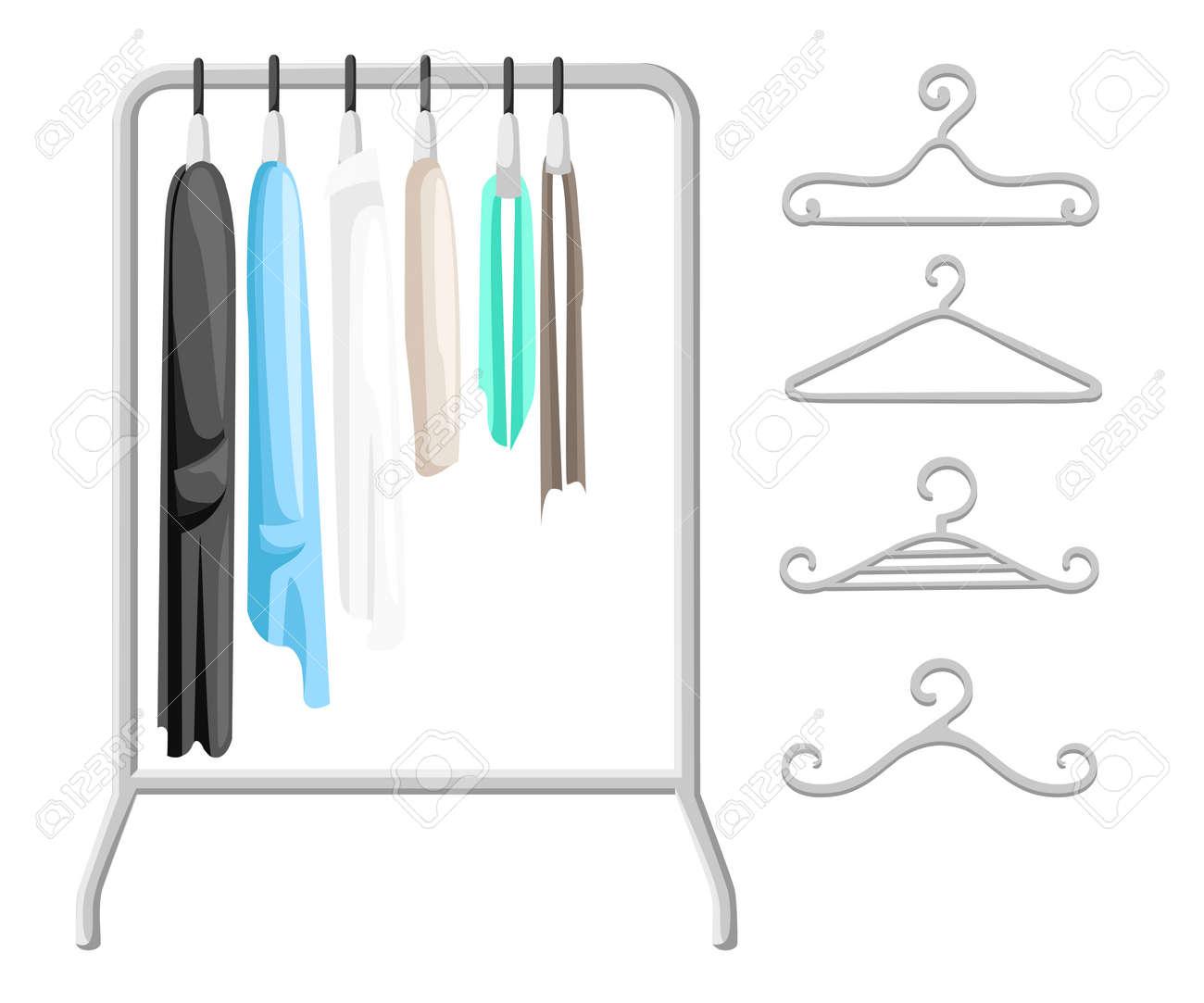 Porte Manteaux Avec Des Vêtements Sur Des Cintres Concept D