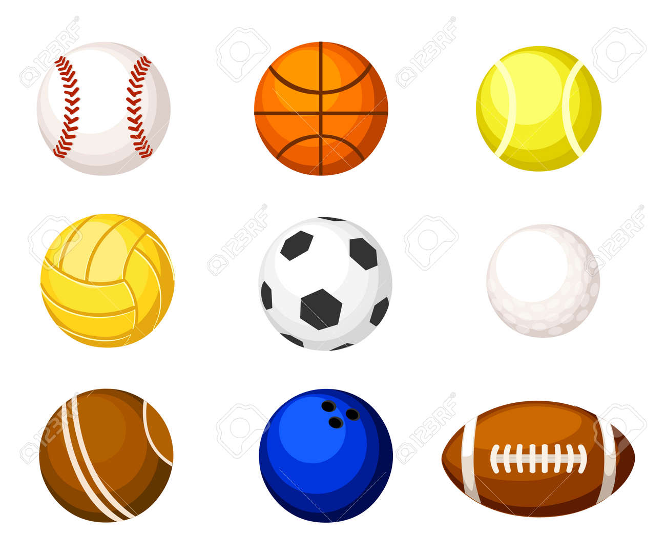 Collection Illustration Sports Balls Vector Cartoon Ball Set Royalty Free Cliparts Vectors And Stock Illustration Image 77394754