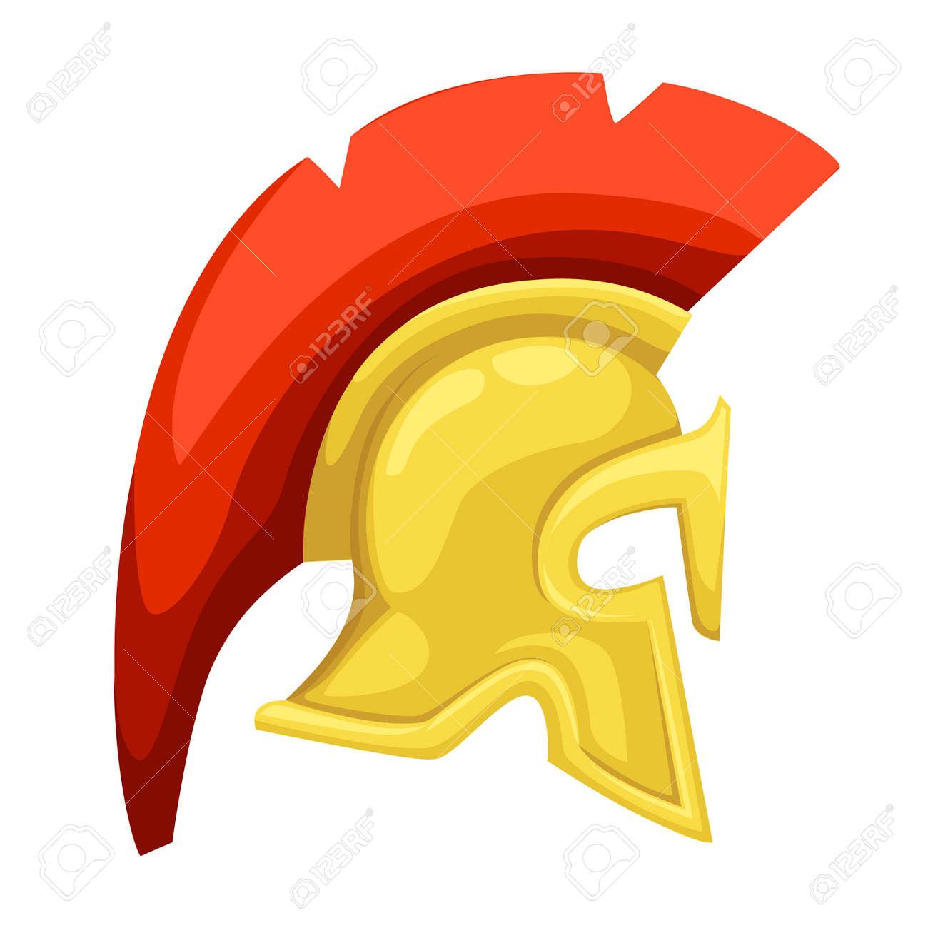 Ancient Helmet Spartan Helmet Isolated Illustration Greek Warrior