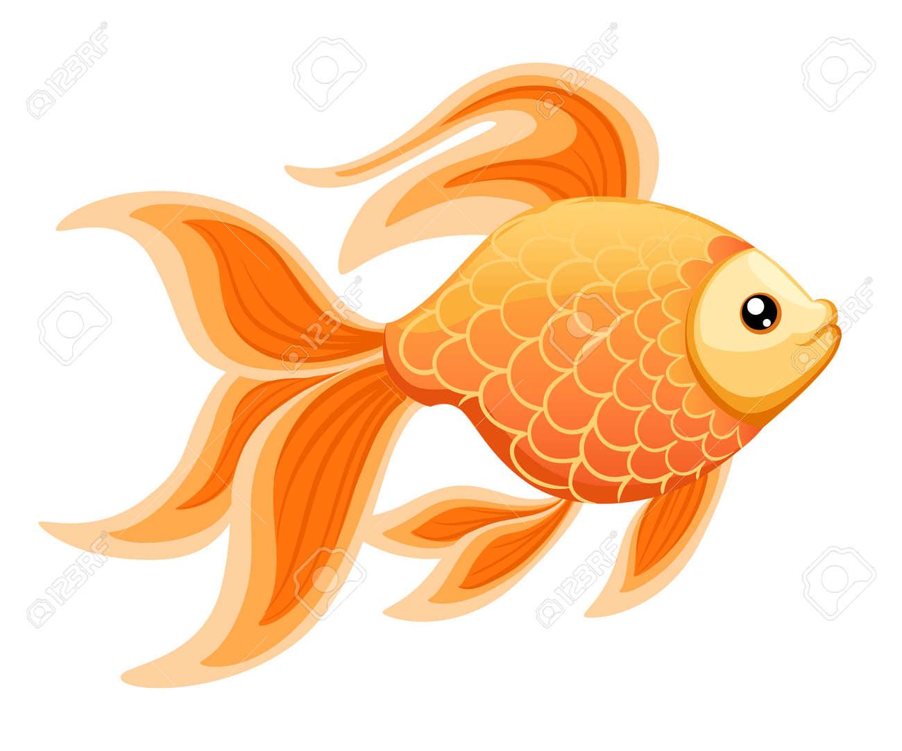 Ilustración Vectorial Aislados En Fondo Goldfish Acuario Peces ...