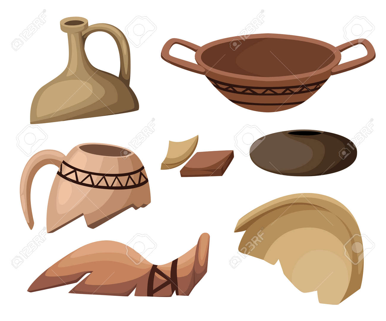 Archeology and paleontology concept archaeological excavation Web site page and mobile app design vector element. ancient history achaeologists unearth ancient artifacts vector illustration. - 80718773