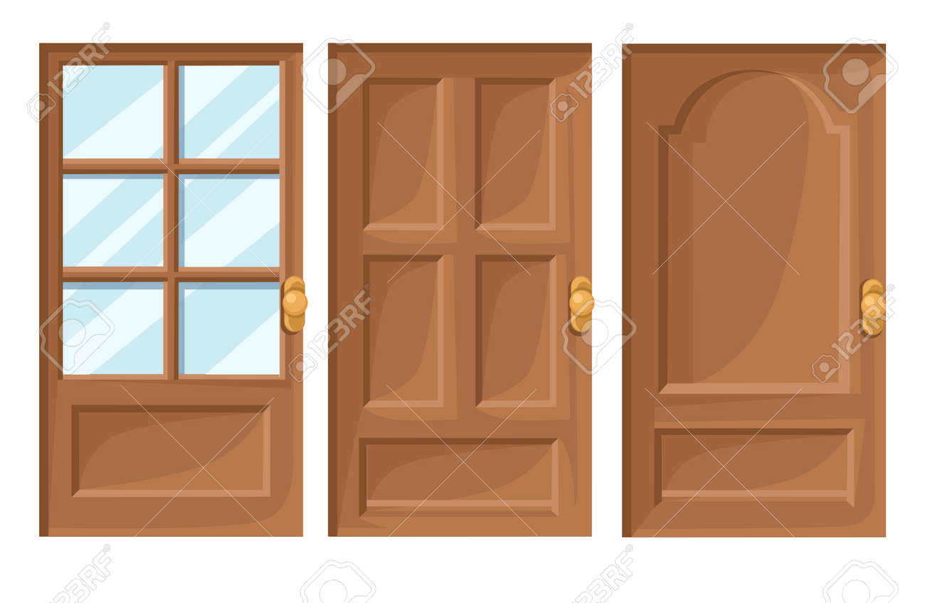 Doors Icons Set House Cartoon and Design Isolated Vector Illustration Vector illustration Web site page and  sc 1 st  123RF.com : cartoon door - pezcame.com