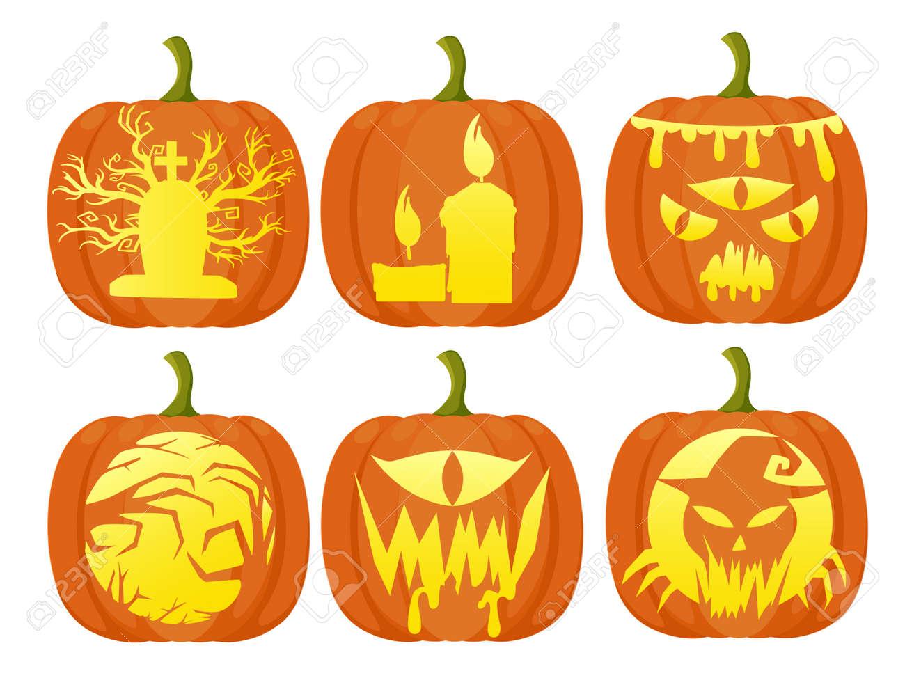 Définir Des Citrouilles Pour Halloween Design Plat Style Frais De Dessin Animé Légumes Différents Page Du Site Web Et La Conception De L Application