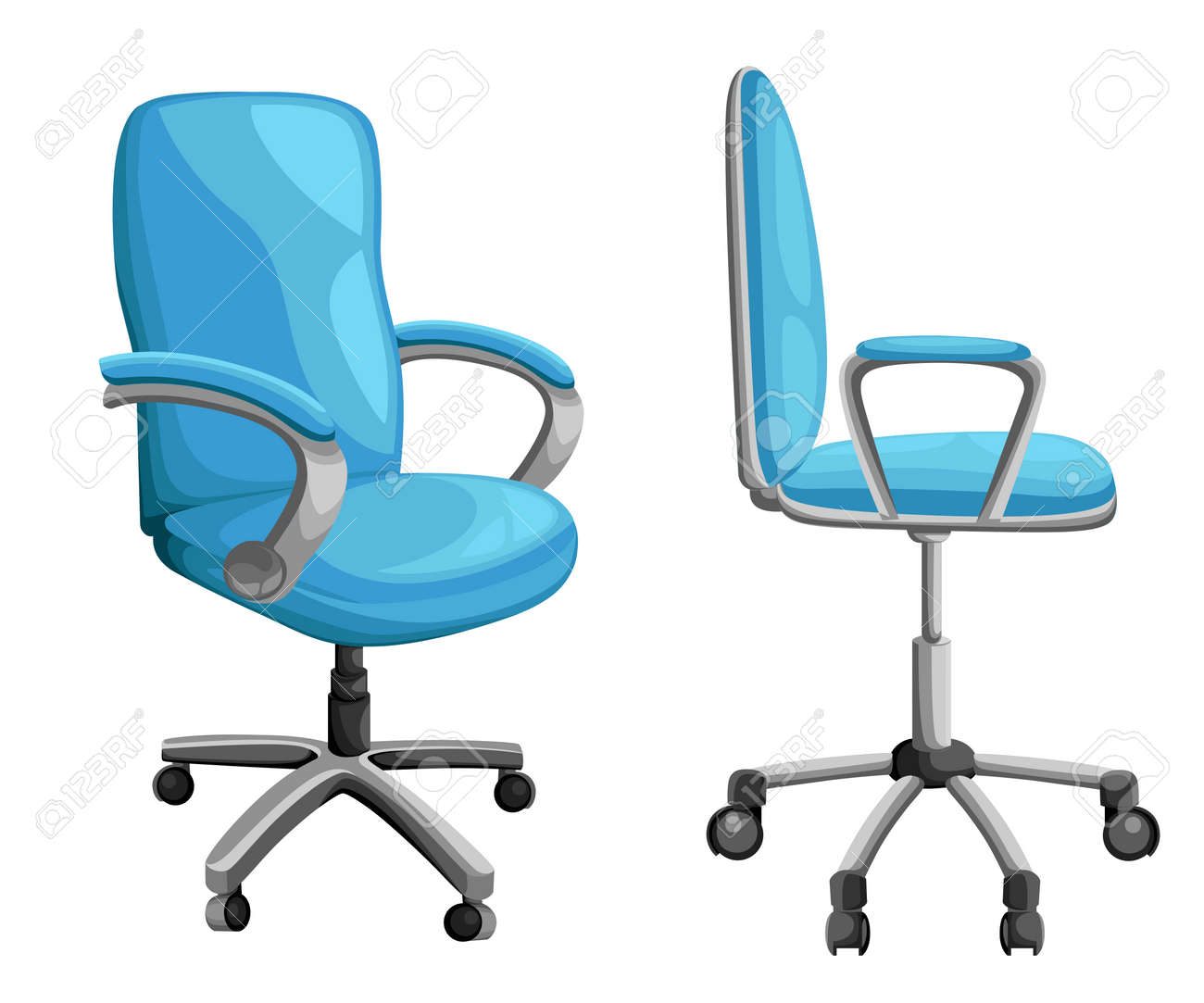 photo stock vector office or desk chair in various points of view armchair or stool in front back side angles
