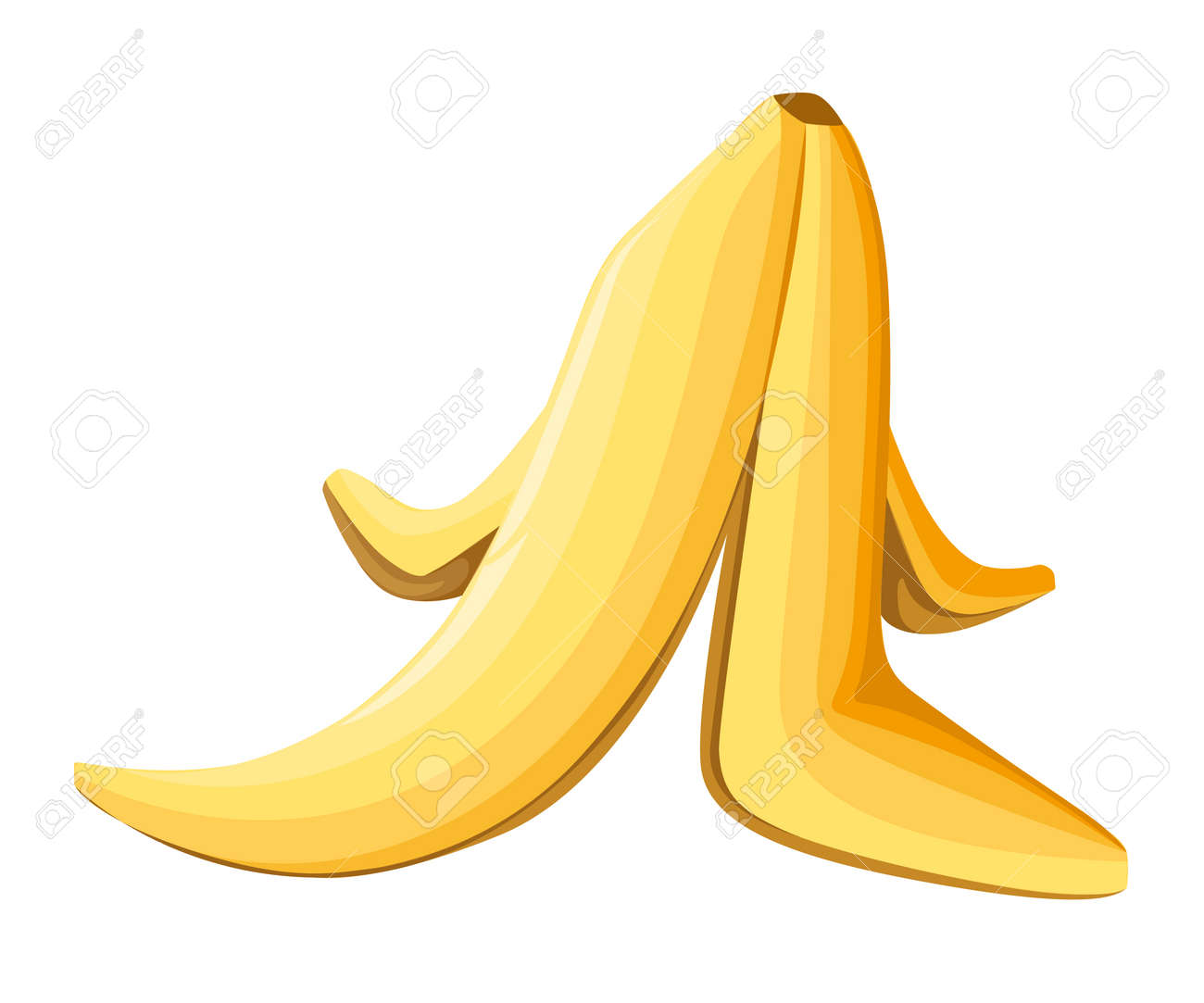 Banana peel on a white background. Vector illustration. on white background Web site page and mobile app design for game. - 90087596