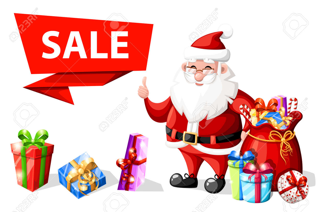 Christmas Santa Claus With Thumb Up Gesture Near Sale Banner With ...