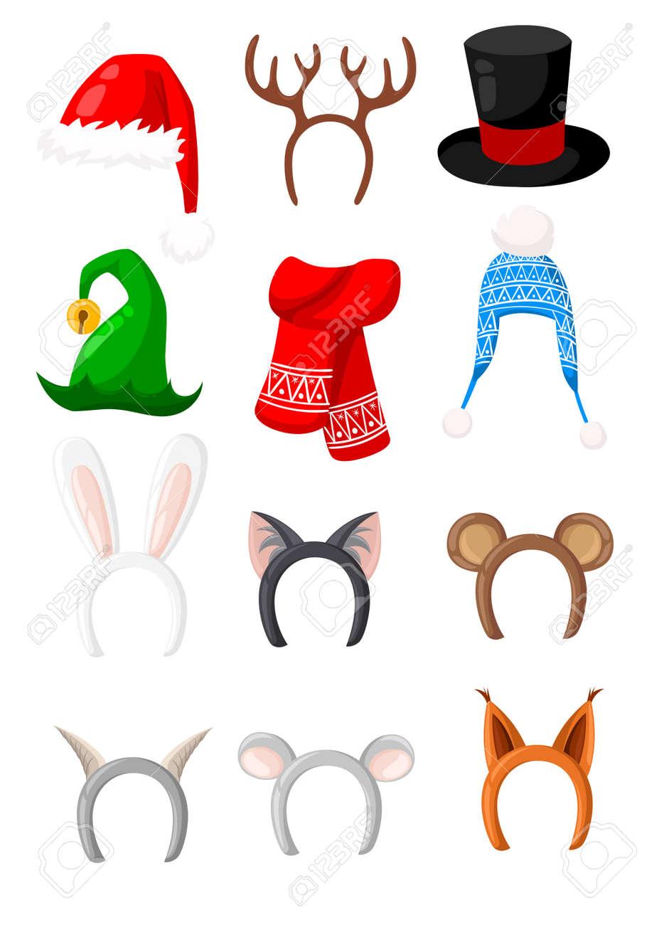 Sombreros De Año Nuevo Conjunto De Santa, Conejo, Gato, Oso, Zorro ...