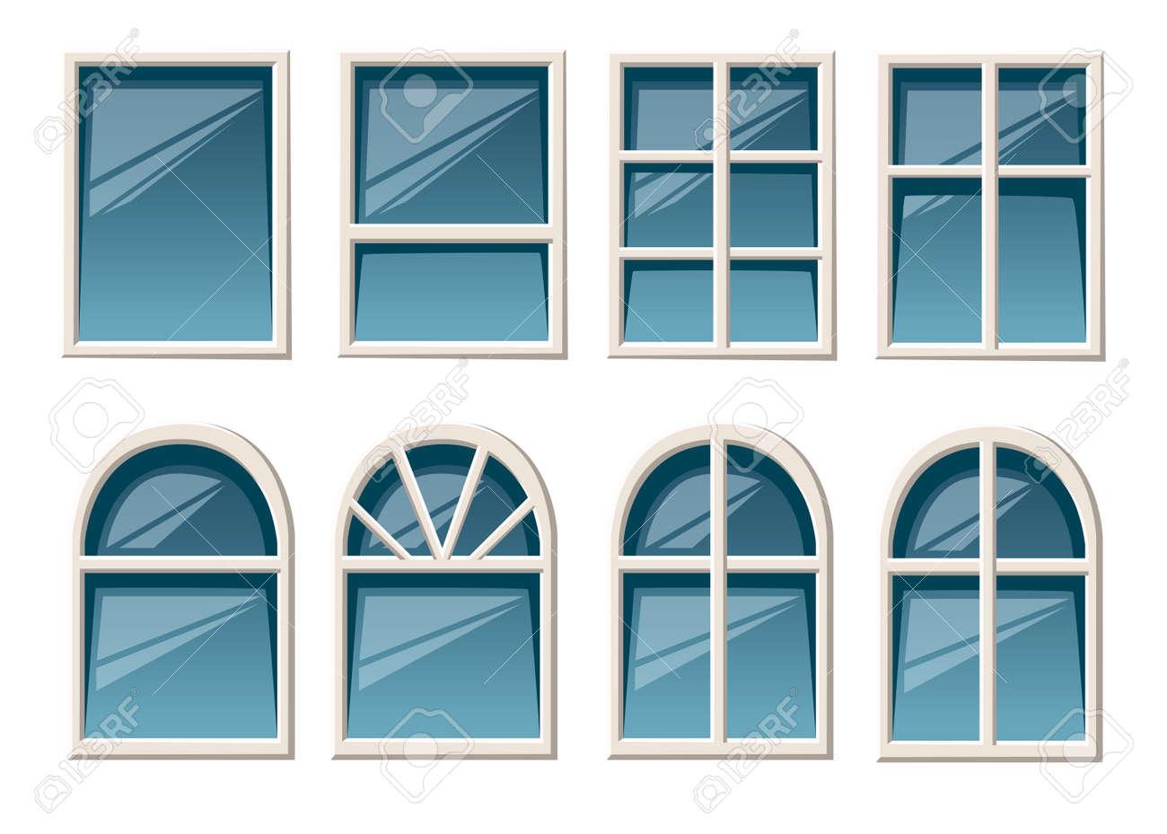 Vector Sammlung Verschiedene Weisse Fensterarten Fur Die Flache Art