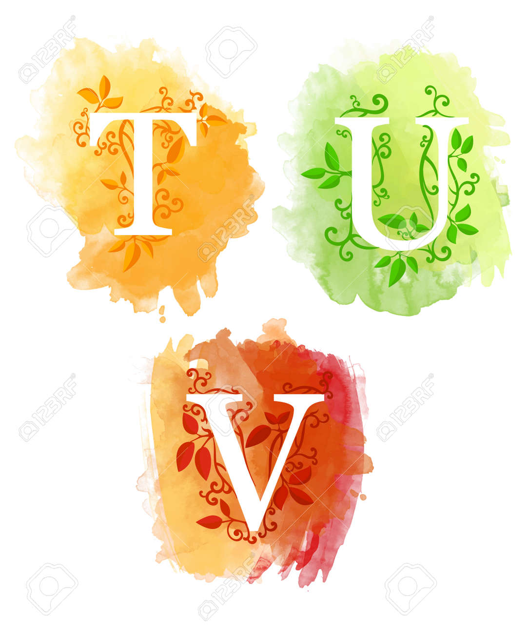 Alphabet with watercolor background white letters t u v and young