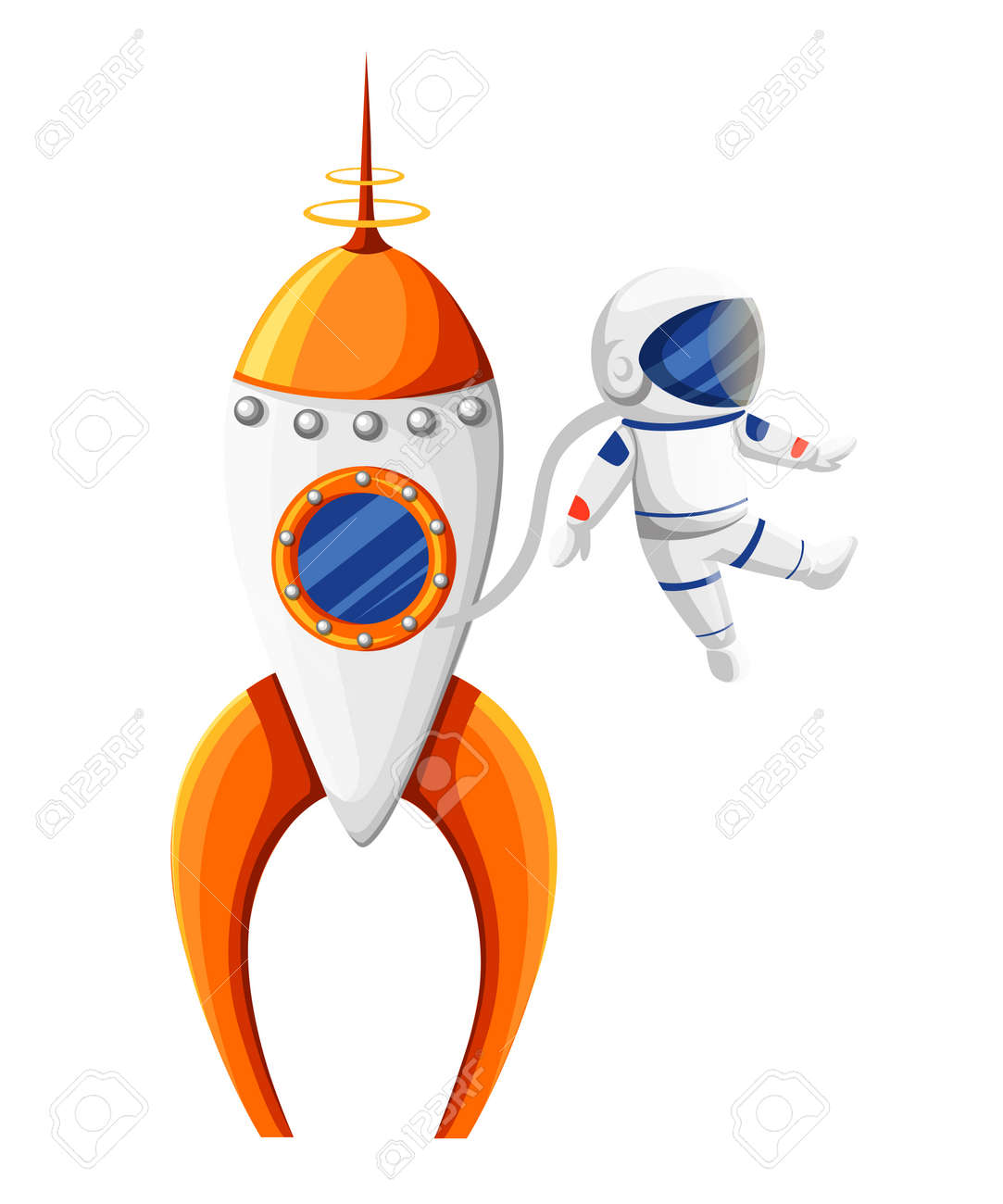 cartoon astronaut with spacesuit near rocket in zero gravity rh 123rf com spaceship vector worksheet spaceship vector images