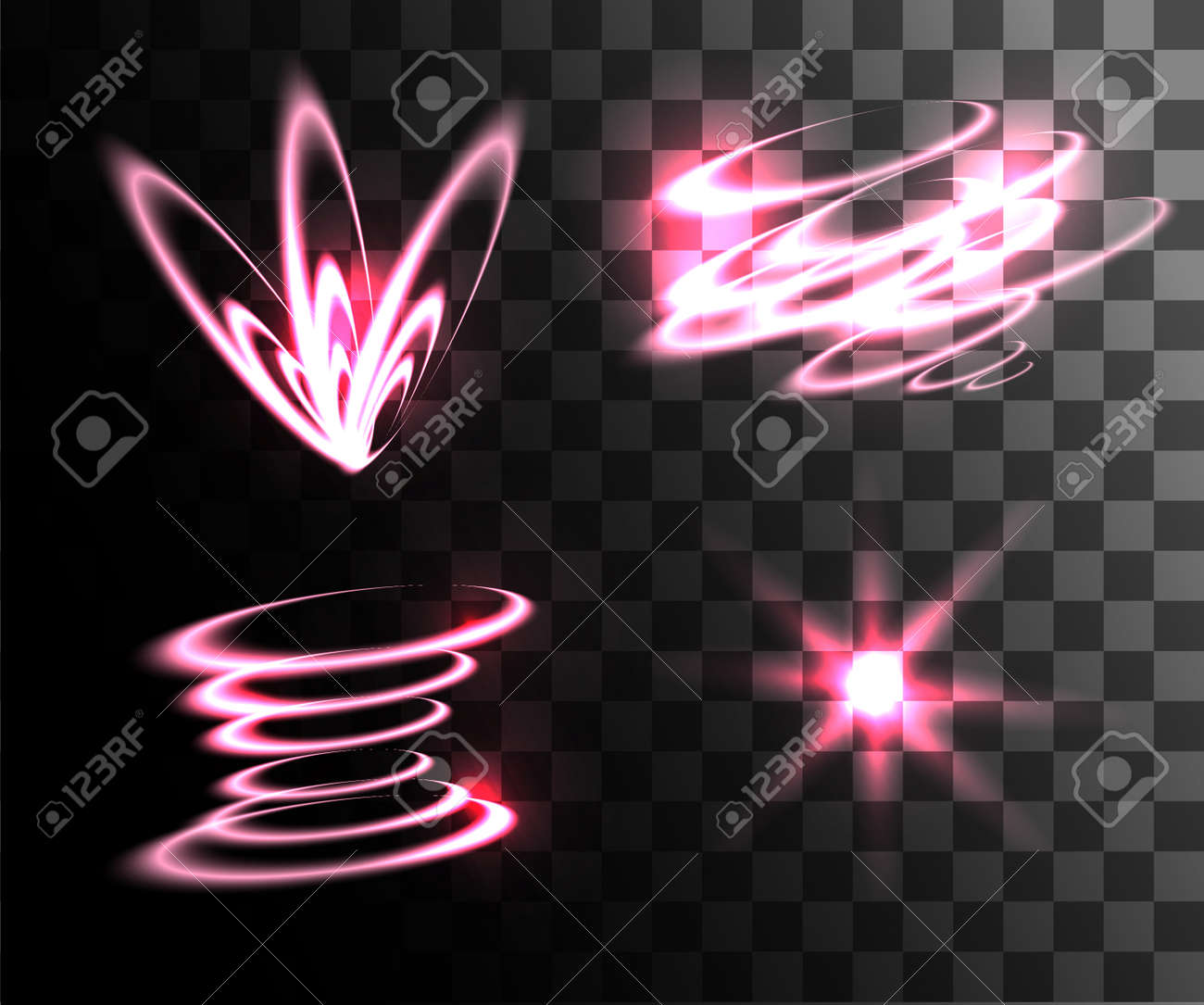 set of pink vector light effects glowing light rings with particles