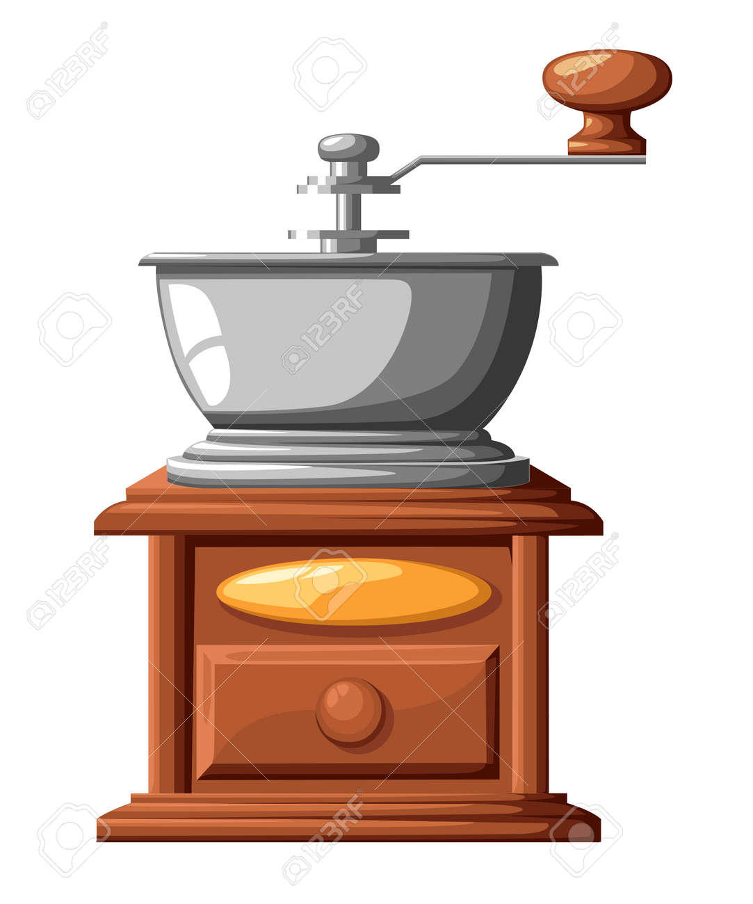 Clip Art Vector - Coffee mill grinder with coffee beans. Stock EPS  gg81790305 - GoGraph