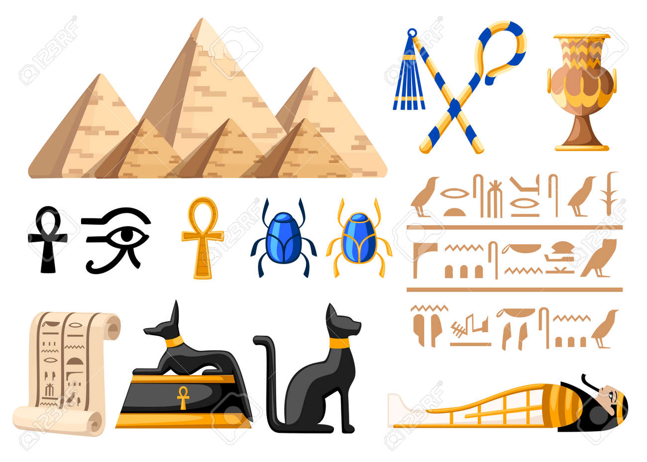 Ancient Egyptian Symbols And Decoration Egypt Flat Icons Vector