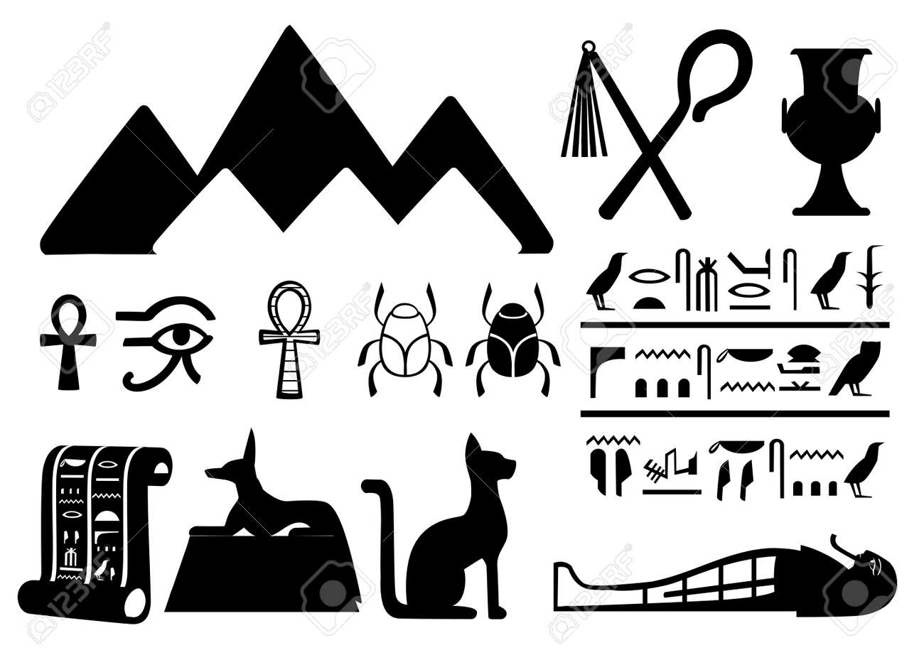 Black Silhouettes Ancient Egyptian Symbols And Decoration Egypt