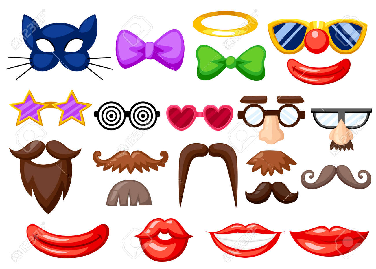 Set Of Fun Masks Party Birthday Photo Booth Props Mustache Spectacles Bow