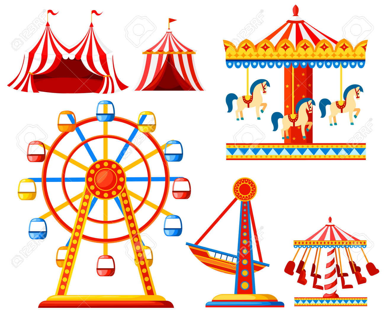 Set of carnival circus icons. Amusement park collection. Tent, carousel, ferris wheel, pirate ship. Cartoon style design. Vector illustration isolated on white background. - 98771810