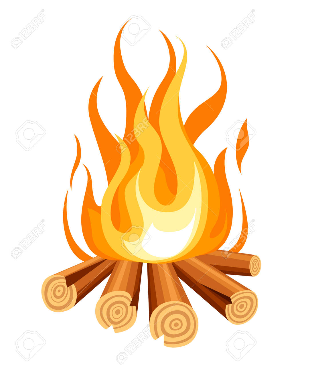 Burning bonfire with wood. Vector cartoon style illustration of bonfire. Isolated on white background. - 103920980