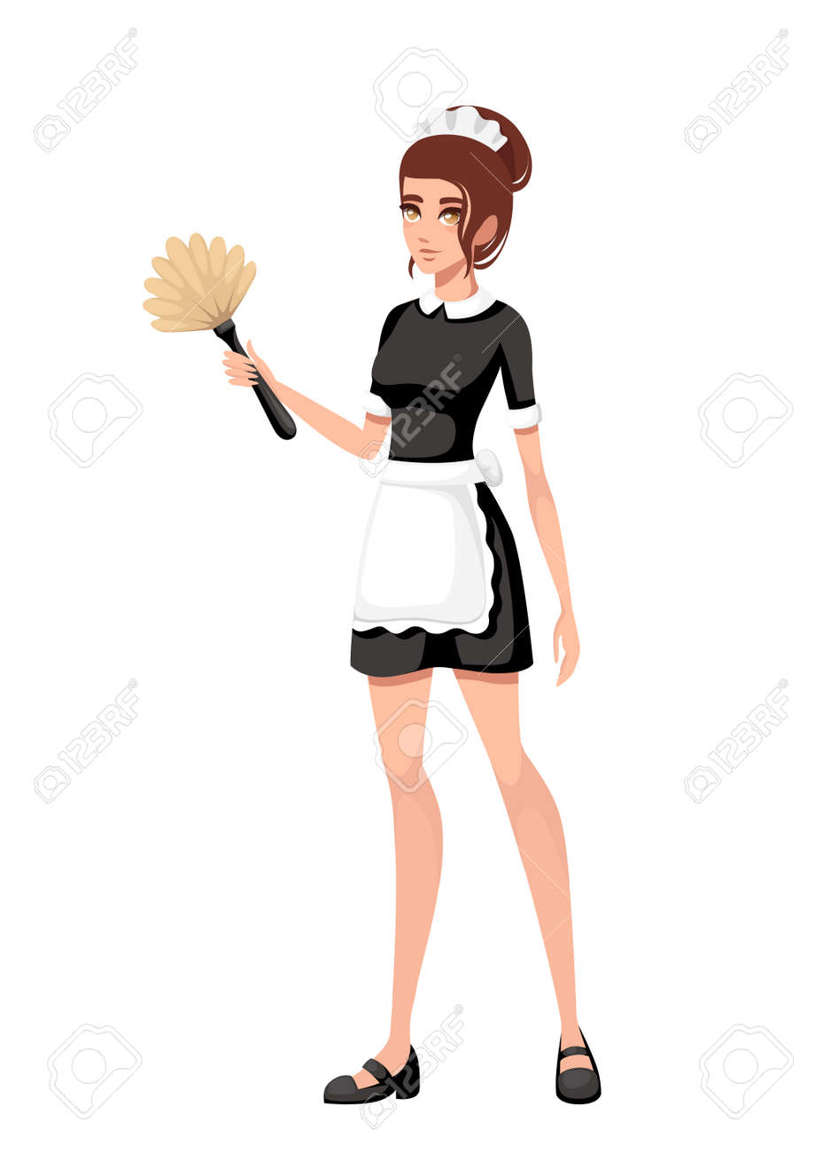 Beautiful smiling maid in classic french outfit. Cartoon character design. Women with brown short hair. Maid holding duster brush. Flat vector illustration isolated on white background. - 112411520