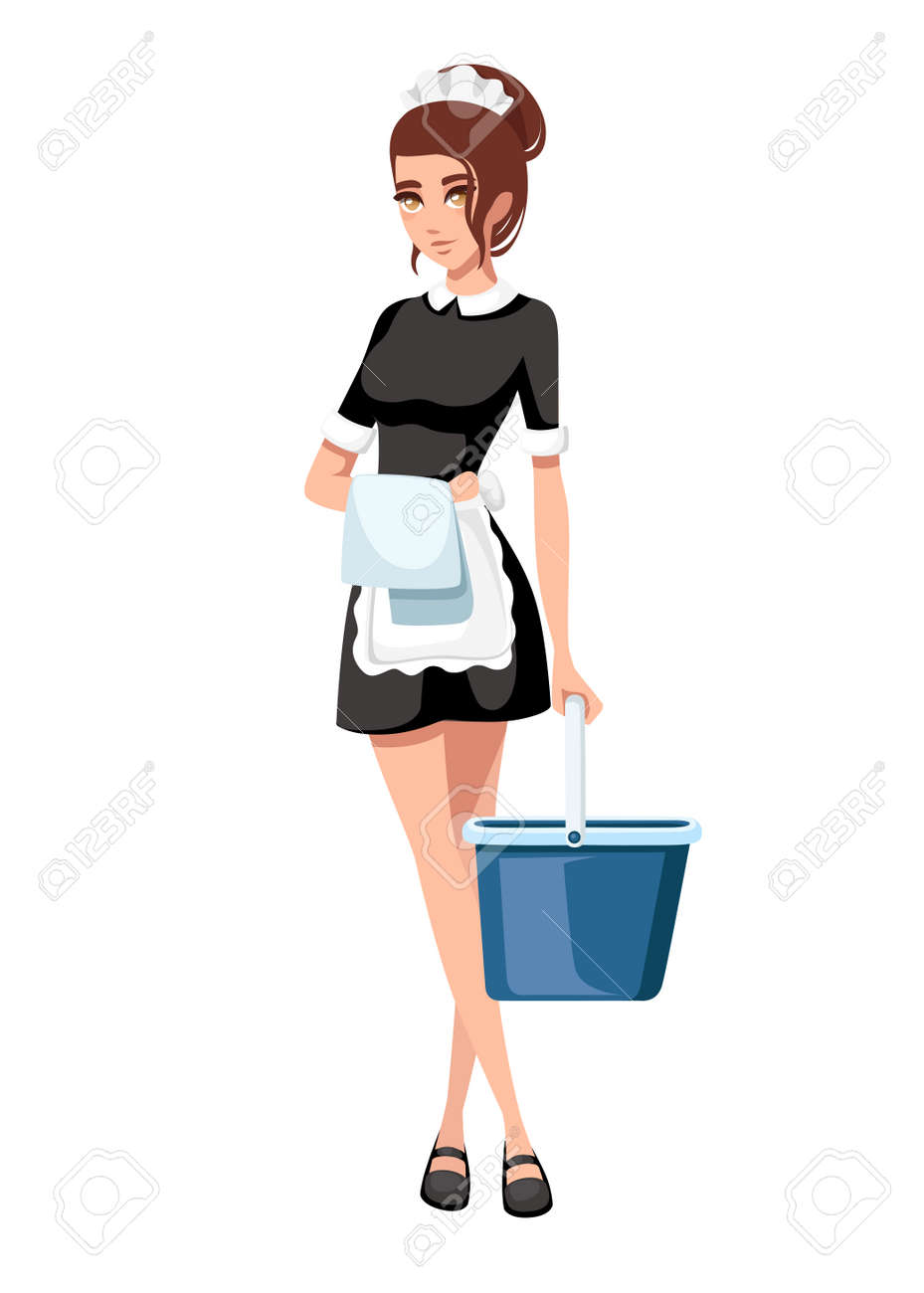 Beautiful smiling maid in classic french outfit. Cartoon character design. Women with brown short hair. Maid holding cleaning bucket and towel. Flat vector illustration isolated on white background. - 112411521