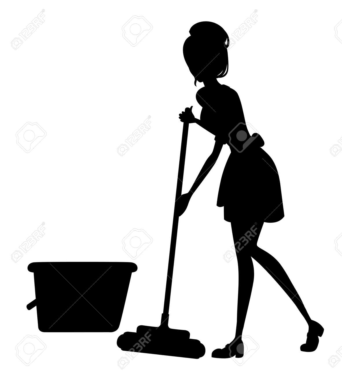 Beautiful maid in classic french outfit. Cartoon character design. Women with brown short hair. Chambermaid cleaning floor with mop silhoutte. Flat vector illustration on white background. - 112411524