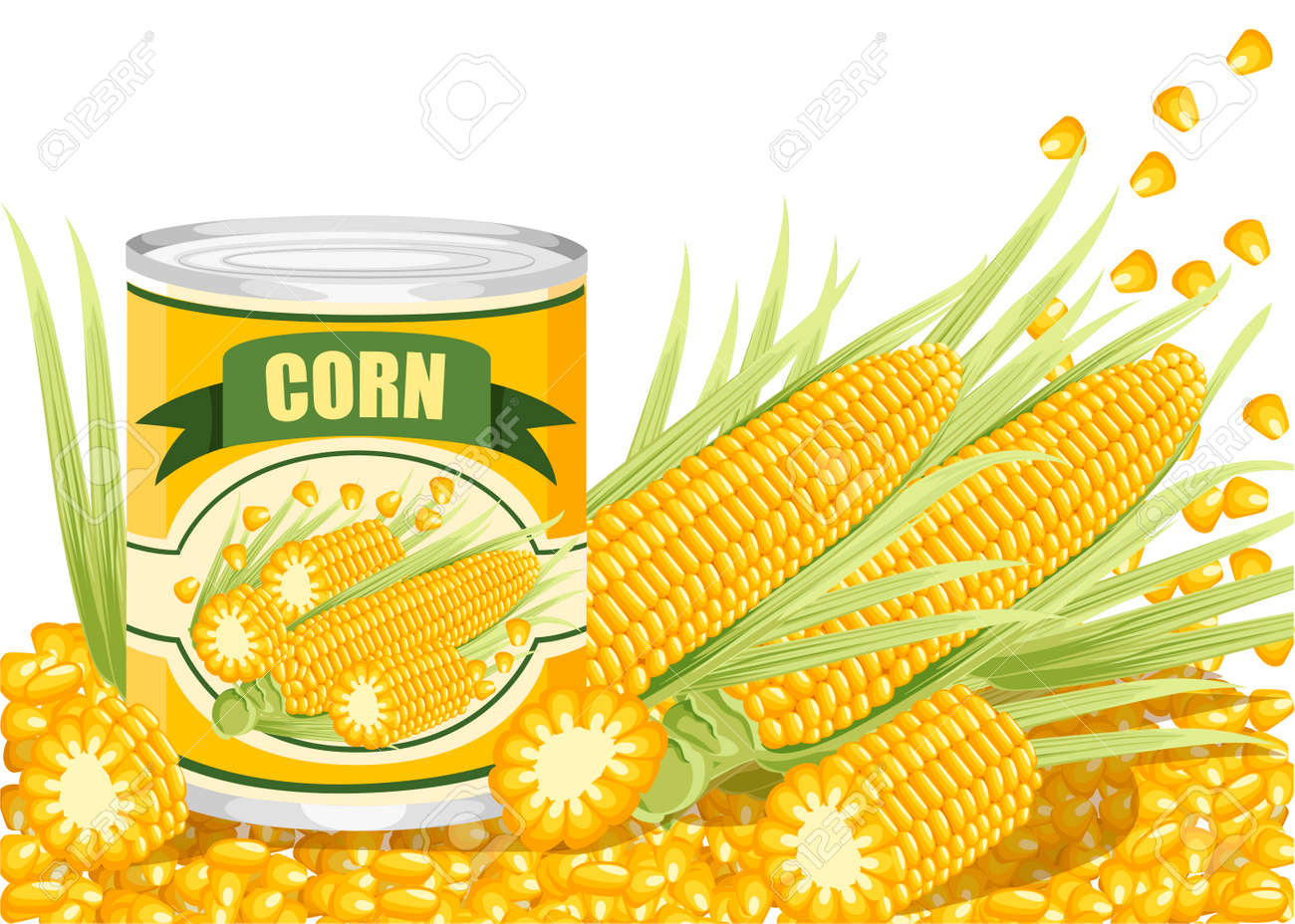 Corn in aluminum can. Canned sweet corn with corn cob logo. Product for supermarket and shop. Flat vector illustration on white background. - 125842053