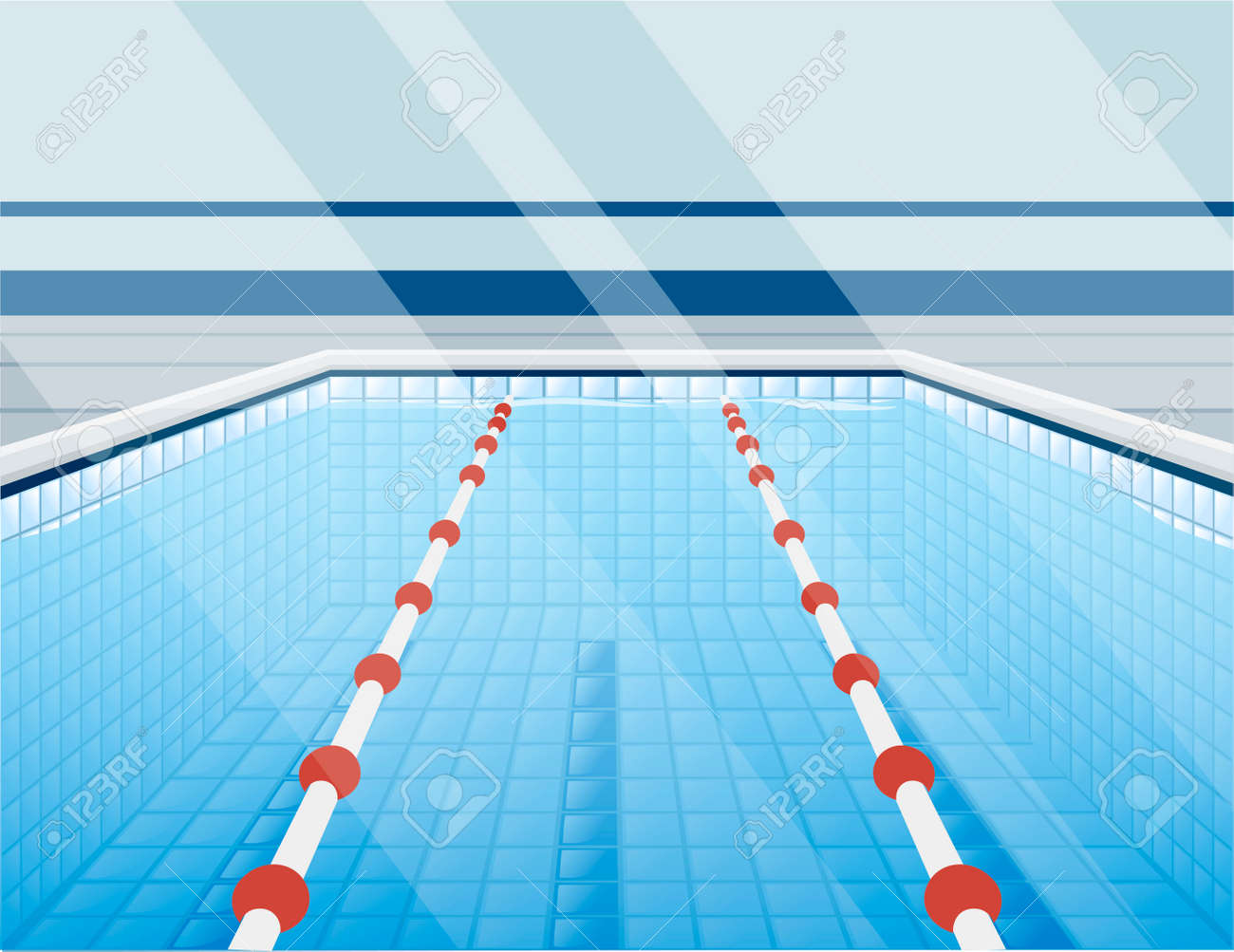 Professional swimming pool with paths for dip and water - 126045696
