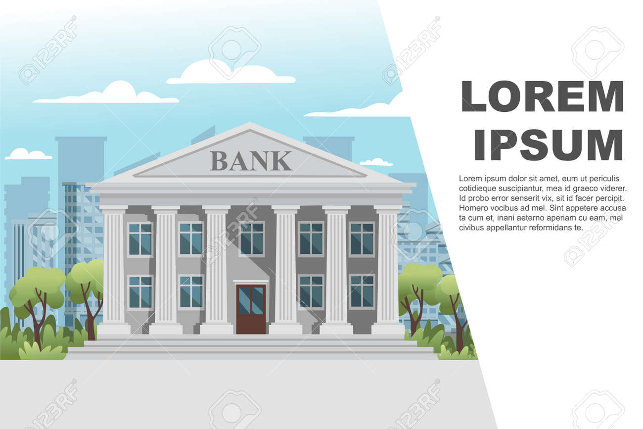 Retro Bank Design.Flat Design Retro Bank Building With Columns And Windows Vector