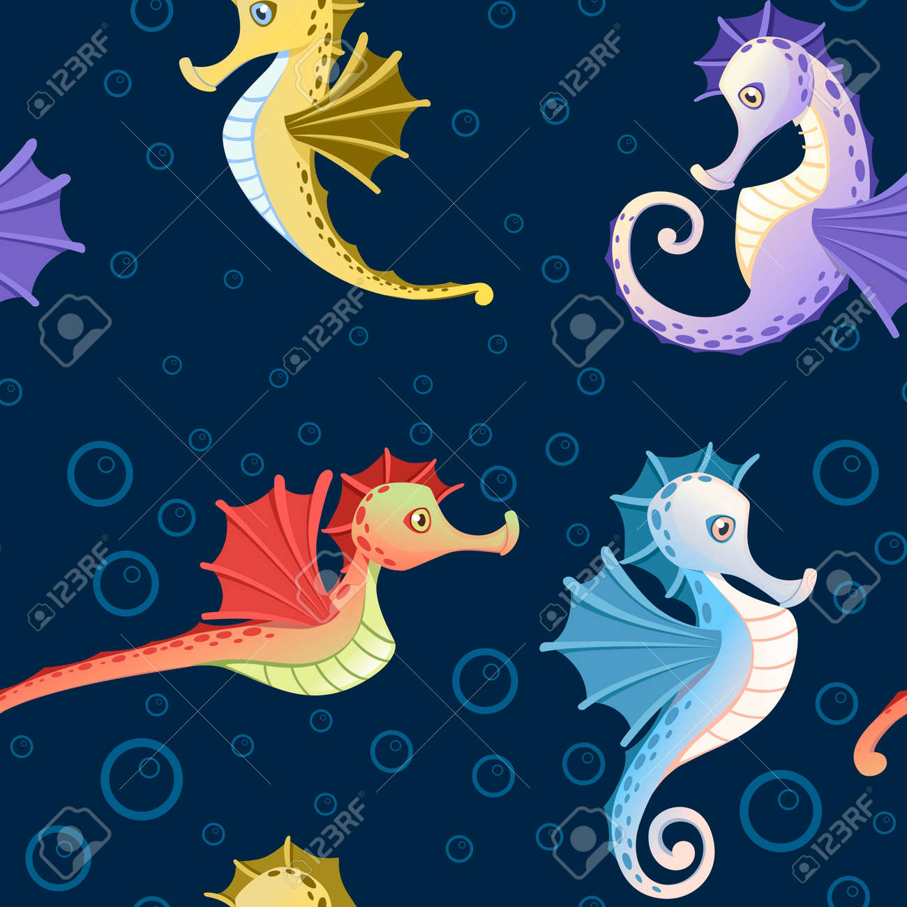 Seamless Pattern Of Sea Horses With Different Skin Colors And Royalty Free Cliparts Vectors And Stock Illustration Image 139629263