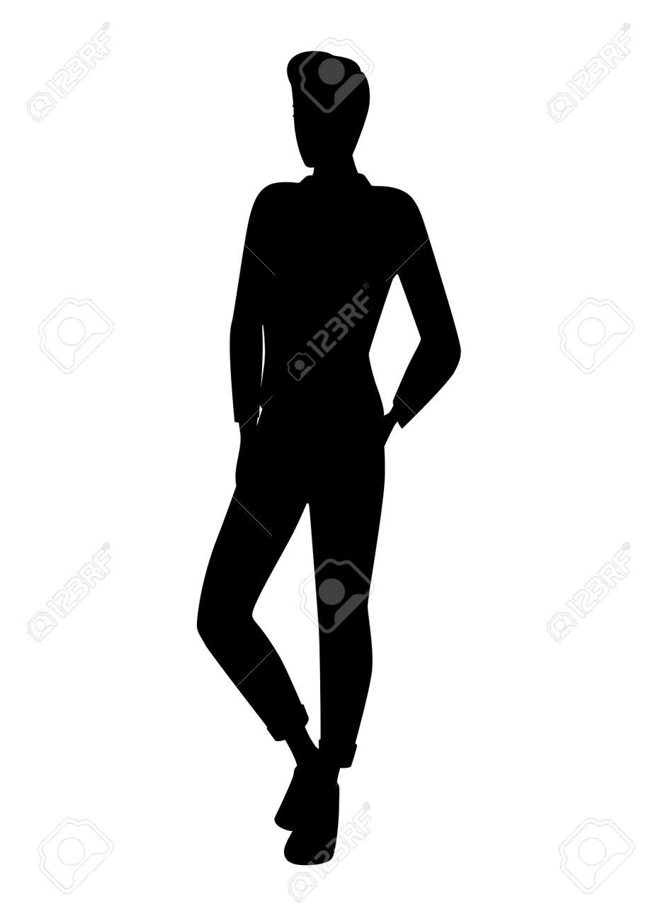 Black silhouette cute young man in fashion casual clothes cartoon character design flat vector illustration isolated on white background. - 146694011