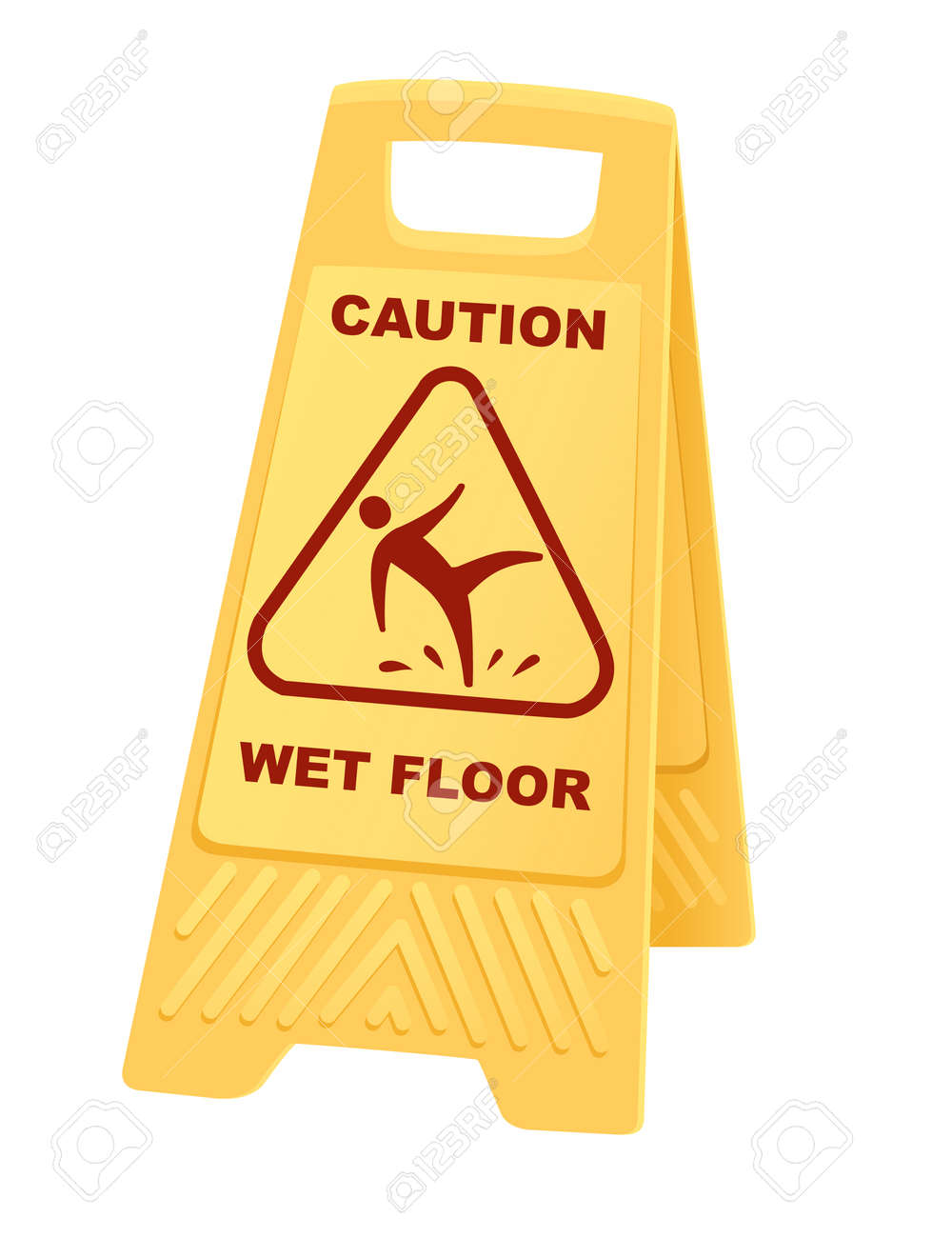 Yellow warning sign caution wet floor sign with falling man icon flat vector illustration isolated on white background - 166097632