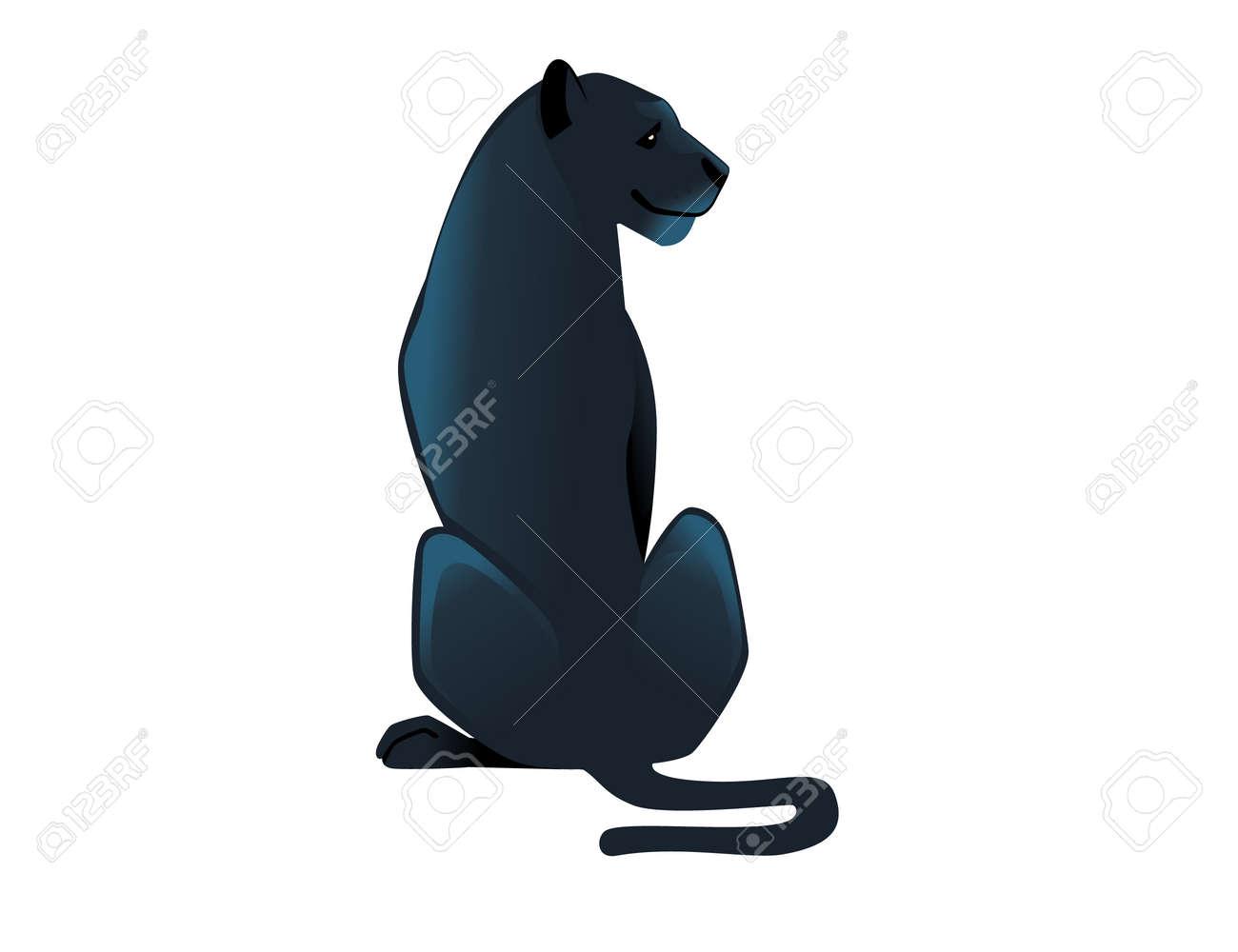 Black panther wild big cat african jungle hunter cartoon animal design vector illustration on white background. - 167551395