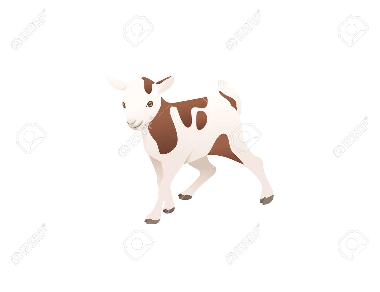 Cute adult white goat farm animal cartoon animal design vector illustration isolated on white background - 168754765