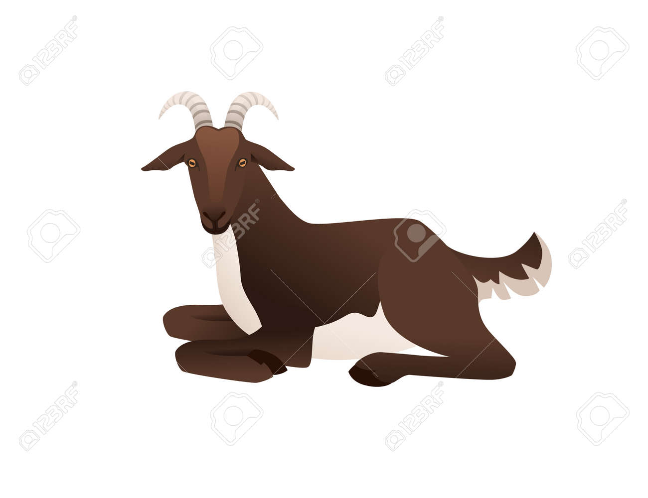 Cute adult brown goat lying on ground farm animal cartoon animal design vector illustration isolated on white background - 168754769