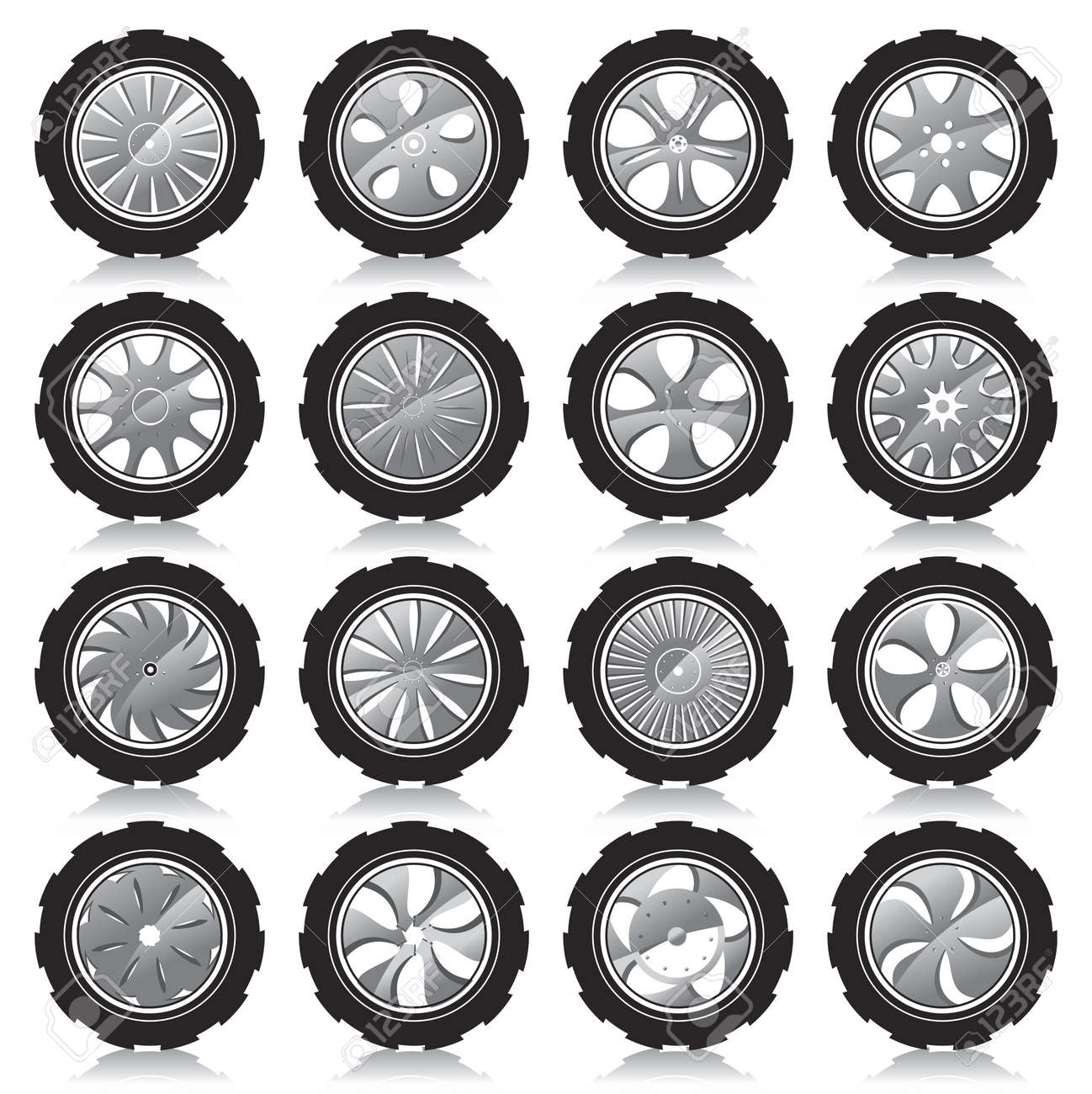automotive wheel with alloy wheels and crude rubber tires Stock Vector - 12741615