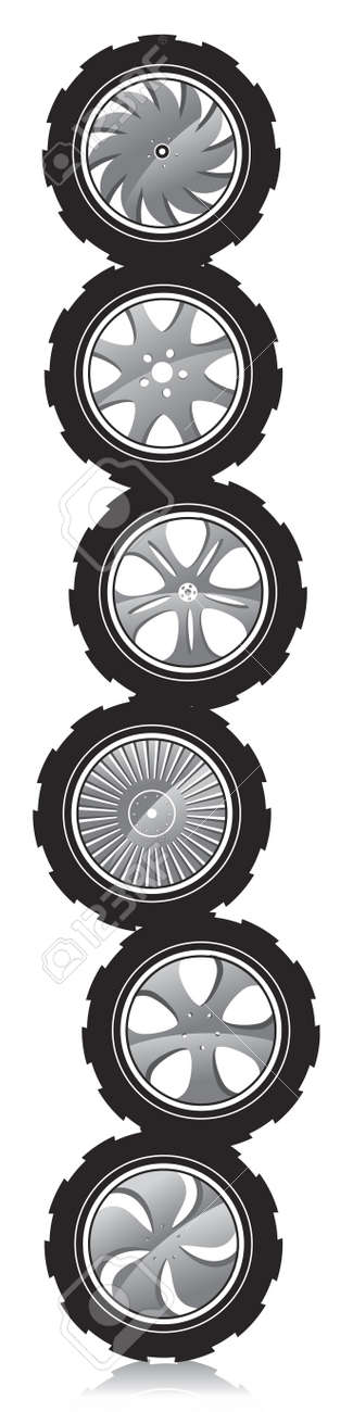 automotive wheel with alloy wheels and crude rubber tires Stock Vector - 12741579